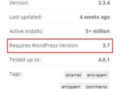 WordPress官方插件已显示支持运行的WordPress最低版本